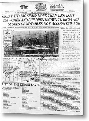 News Report On Titanic Disaster Metal Print by Library Of Congress