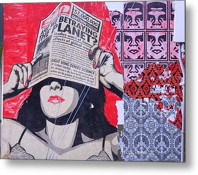 Metal Print featuring the photograph Shepard Fairey Graffiti Andre The Giant And His Posse Wall Mural by Kathy Barney