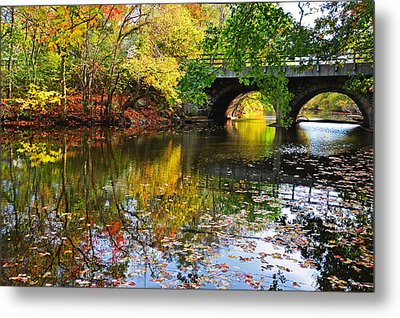 Newton Upper Falls Autumn Foliage Metal Print by Toby McGuire