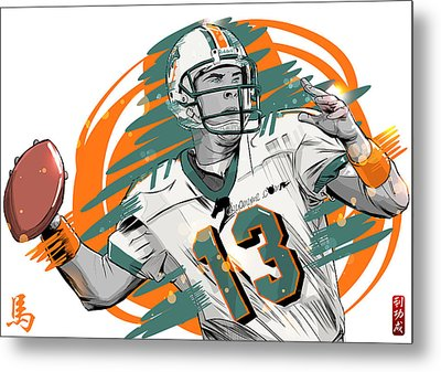 Nfl Legends Dan Marino Miami Dolphins Metal Print by Akyanyme