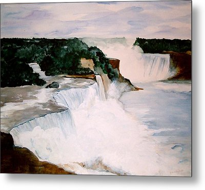 Metal Print featuring the painting Niagara Falls by Ellen Canfield