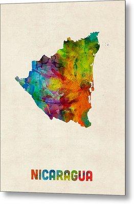 Nicaragua Watercolor Map Metal Print