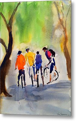 Nicasio Bikers Metal Print by Tom Simmons