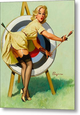 Nice Archery Shot - Retro Pinup Girl Metal Print