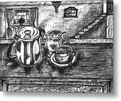 Metal Print featuring the drawing Nice Cup Of Tea by Teresa White