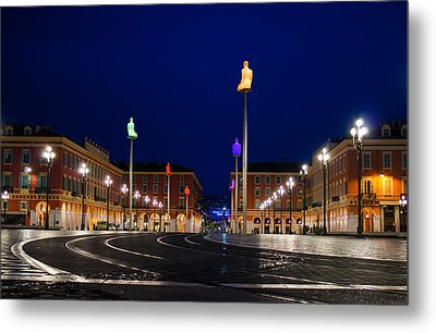 Metal Print featuring the photograph Nice France - Place Massena Blue Hour  by Georgia Mizuleva