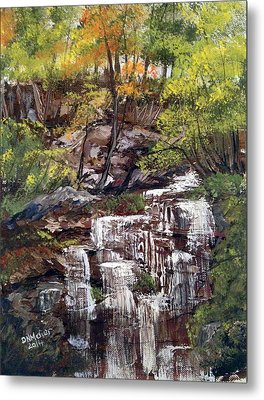 Nice Waterfall In The Forest Metal Print by Dorothy Maier