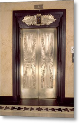 Nickel Metalwork Art Deco Elevator Metal Print by Panoramic Images