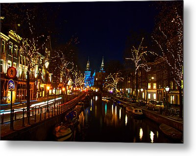 Nieuwe Spieglestraat At Night Metal Print