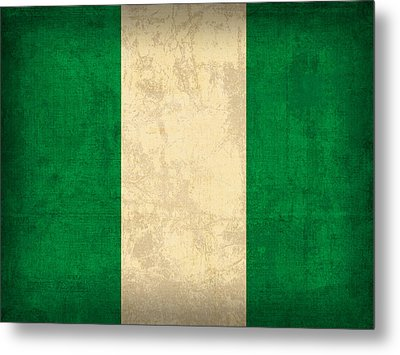 Nigeria Flag Vintage Distressed Finish Metal Print by Design Turnpike