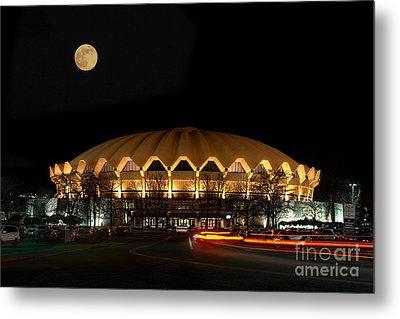 night and moon WVU basketball arena Metal Print by Dan Friend