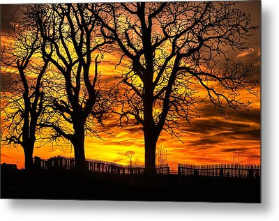 Night Approaches-1a Sunset At The Gettysburg Battlefield Metal Print by Michael Mazaika