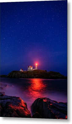 Night At Nubble Light Metal Print by Michael Blanchette