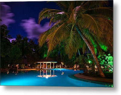 Night At Tropical Resort Metal Print by Jenny Rainbow