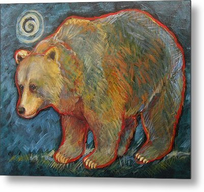 Night Bear Grizzly Bear Metal Print
