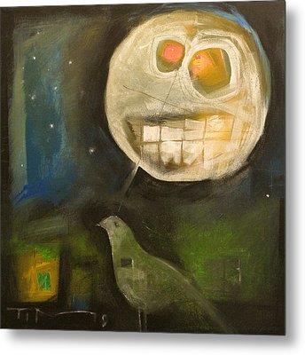 Night Bird Harvest Moon Metal Print by Tim Nyberg
