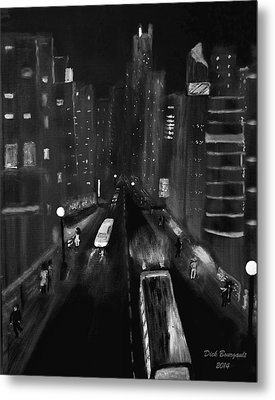 Night City Scape Metal Print by Dick Bourgault