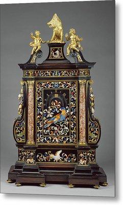 Night Clock Case And Hardstone Mosaics By Giovanni Battista Metal Print