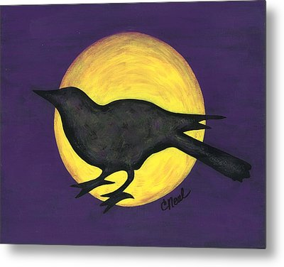 Night Crow On Purple Metal Print