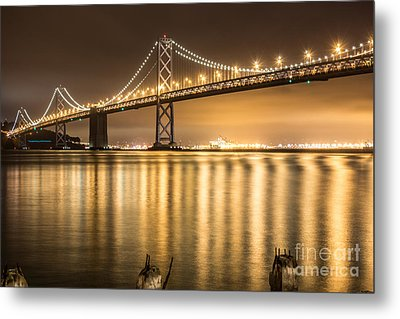 Night Descending On The Bay Bridge Metal Print by Suzanne Luft