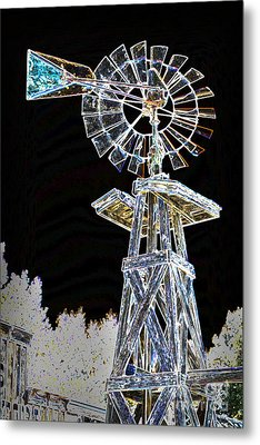 Night Drawing Windmill Antique In Color 3005.04 Metal Print by M K  Miller