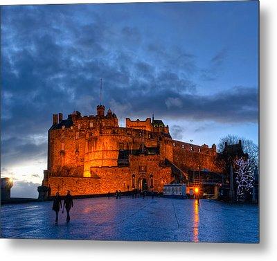 Night Falls On Beautiful Edinburgh Castle Metal Print by Mark E Tisdale