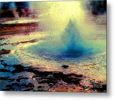 Night Falls On The Yellowstone Metal Print by Ann Johndro-Collins