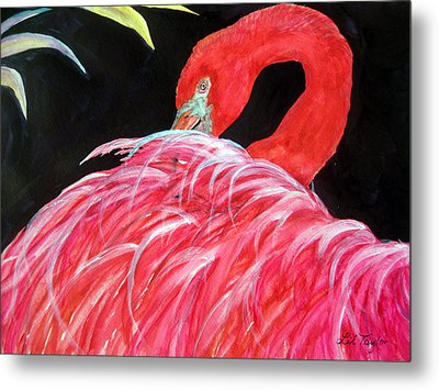 Metal Print featuring the painting Night Flamingo by Lil Taylor