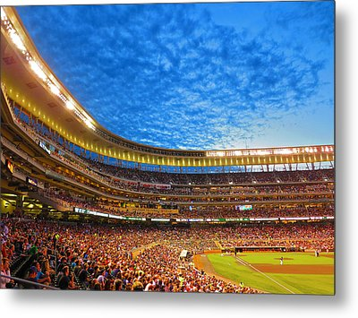 Night Game At Target Field Metal Print by Heidi Hermes
