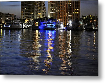 Night Harbor Sarasota Florida Metal Print