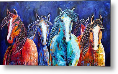 Night Horse Rendezvous Metal Print