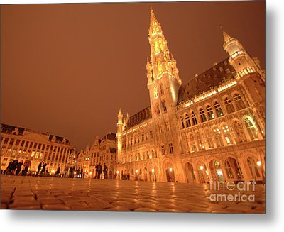 Night In The Grand Place Metal Print