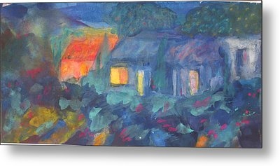 Night In The Village Metal Print by Tolere