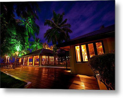 Night Lights At The Resort Metal Print by Jenny Rainbow