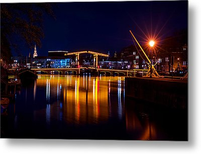 Night Lights On The Amsterdam Canals 1. Holland Metal Print by Jenny Rainbow
