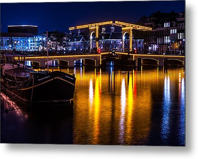 Night Lights On The Amsterdam Canals 3. Holland Metal Print by Jenny Rainbow