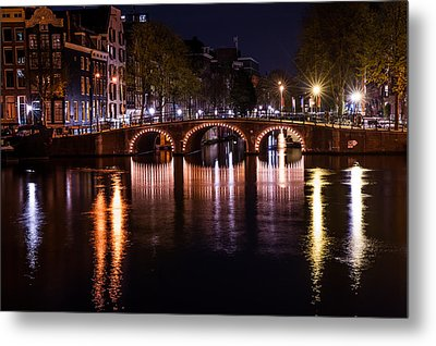 Night Lights On The Amsterdam Canals 4. Holland Metal Print by Jenny Rainbow