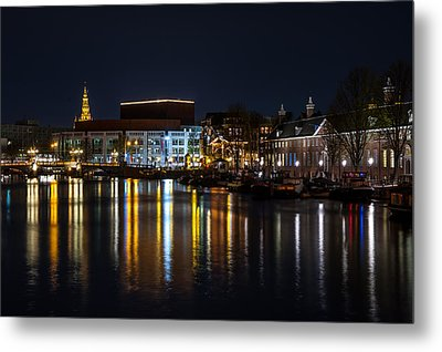 Night Lights On The Amsterdam Canals 6. Holland Metal Print by Jenny Rainbow