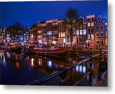 Night Lights On The Amsterdam Canals. Holland Metal Print by Jenny Rainbow