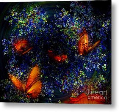 Metal Print featuring the digital art Night Of The Butterflies by Olga Hamilton