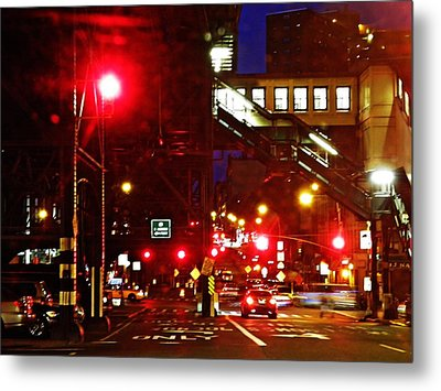 Night On West 125 Street Metal Print by Sarah Loft