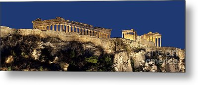 Night Panoramic View Of Acropolis Metal Print by Baltzgar
