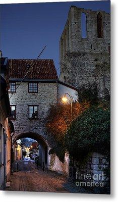 Night Scene In Medieval Town Metal Print by Ladi  Kirn
