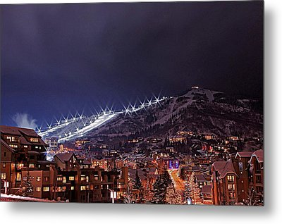 Night Ski Area Metal Print by Matt Helm