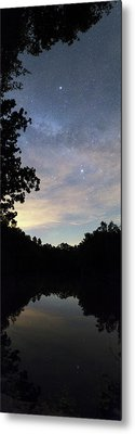 Night Sky Over A Lake Metal Print by Laurent Laveder