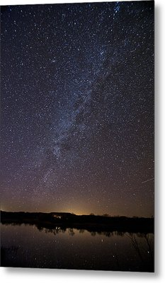 Night Sky Reflected In Lake Metal Print by Melany Sarafis