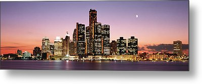Night Skyline Detroit Mi Metal Print by Panoramic Images