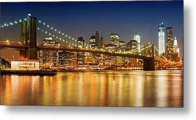 Night-skyline New York City Metal Print by Melanie Viola