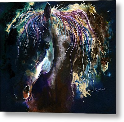 Metal Print featuring the painting Night Stallion by Sherry Shipley