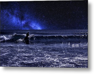 Night Surfer Metal Print